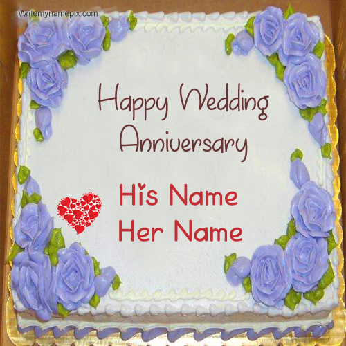 Romantic Flowers Wedding Cake With Couple Name
