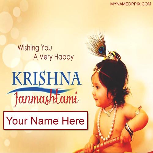 Wishing Card Happy Janmashtami Wishes Name Photo Edit