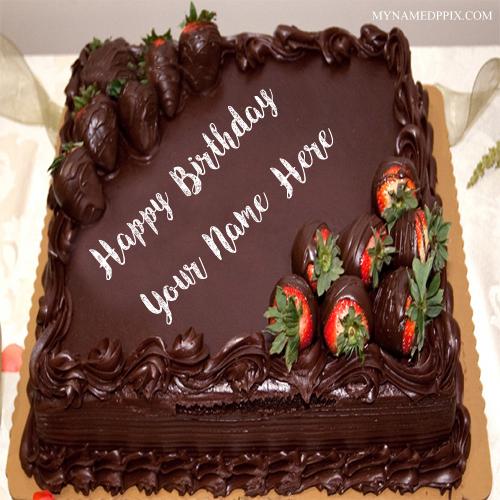 Write Boyfriend Name Birthday Wishes Big Chocolate Cake Pics