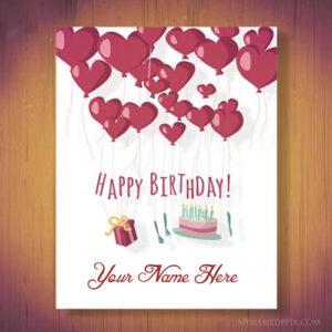 Write Name Beautiful Heart Birthday Wish Card Image