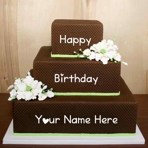 Write Name Birthday Wishes Layer Shaped Big Cake Pics My