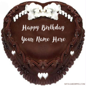 Write Name Wishes Birthday Heart Look Chocolate Cake Pics
