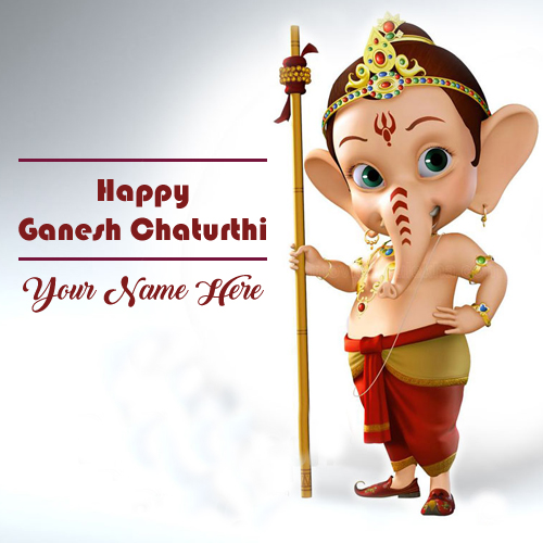 Bal Ganesha Happy Ganesh Chaturthi Wish Card Name Writing