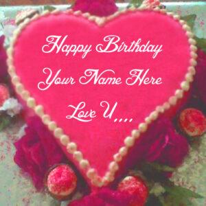 Love Birthday Heart Shaped Cake Name Wishes Image