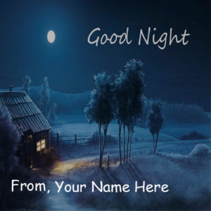 Online Write Name Beautiful Good Night Wish Card Photo