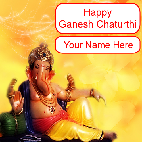 Online Write Name Greeting Cards Ganesha Chaturthi Wishes Free