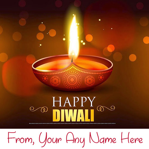 Write Name Diwali Greeting Candles Card Pictures