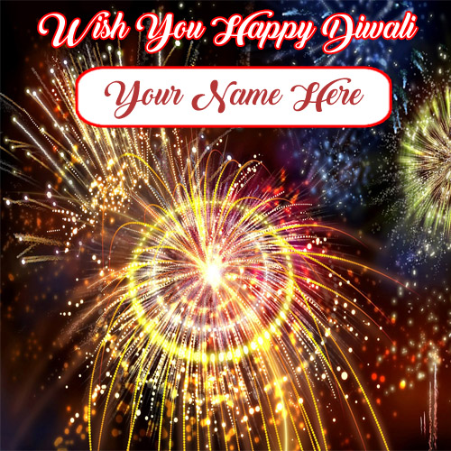 Amazing Diwali Crackers Wishes Card Name Pictures
