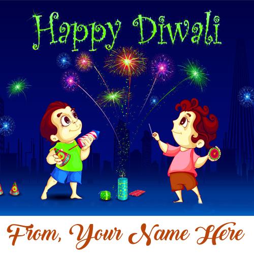 Amazing Firework Diwali Wish Card Name Printed Photo