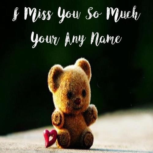 Cute Teddy Miss U Custom Name Print Profile Pictures
