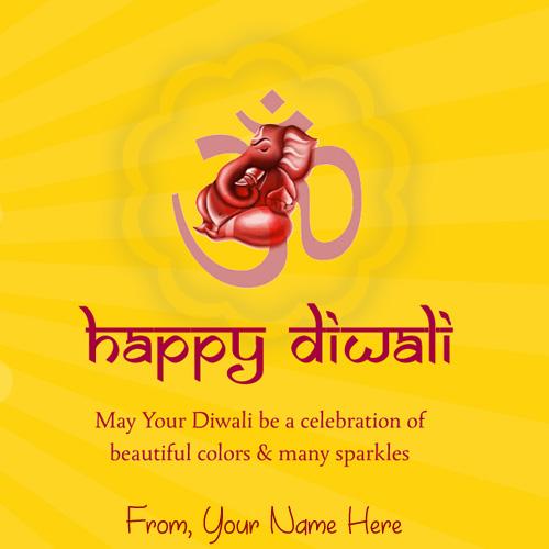 Ganesha Diwali Wishes Greeting Name Card Pictures