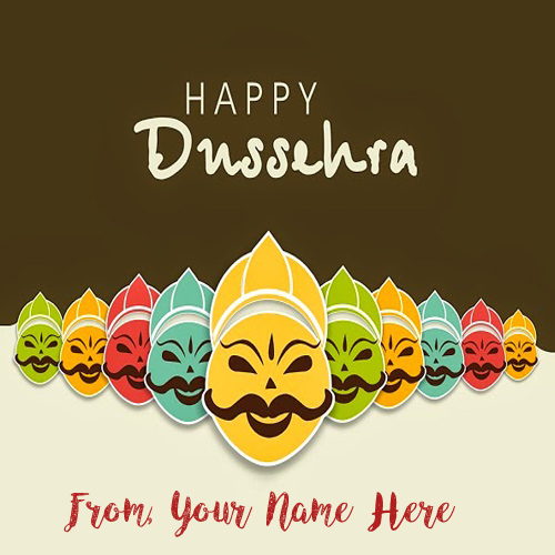 New Happy Dussehra Greeting Wish Card Name Edit