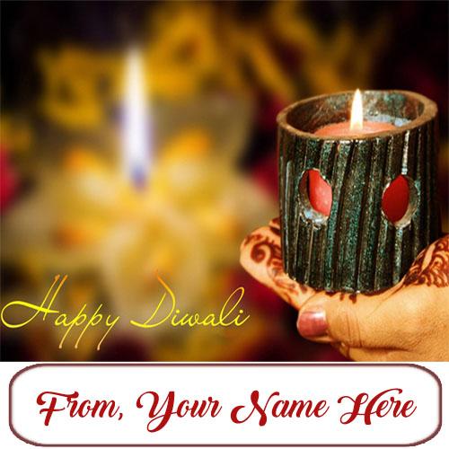 Write Custom Name Happy Diwali Diya Wishes Card Image