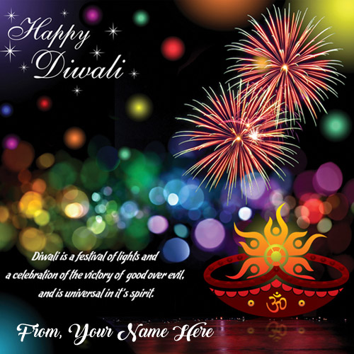 Write Name Diwali Crackers Greeting Card Pictures