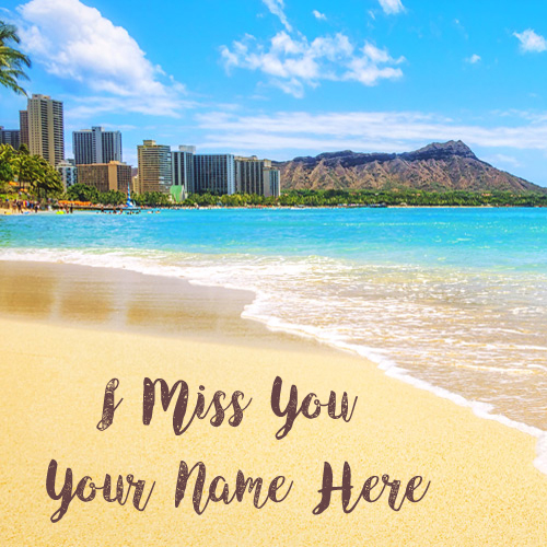 Write Name Miss U Beach Beautiful Profile Set Image