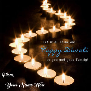 Write Name Wishes Diwali Awesome Candles Card Photo Edit