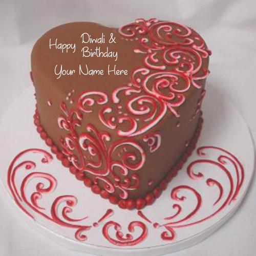 Happy Diwali With Birthday Name Wishes Chocolate Cake