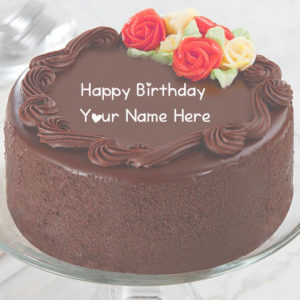 Name Wishes Happy Birthday Chocolate Cake Photo Sent