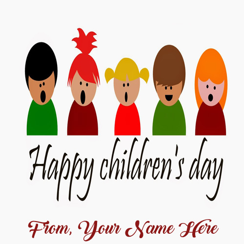 Print Name Children Day Wishes Cute Picture Sent Whatsapp