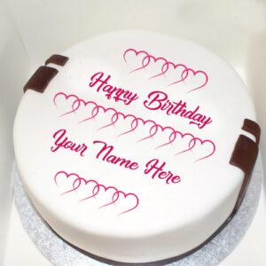 Write Name Love Heart Decoration Birthday Cake Image