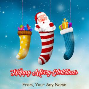 Amazing Santa Claus Funny Christmas Wishes Name Card Image