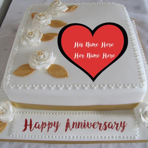 Awesome Anniversary Cake Two Name Write Profile Photo