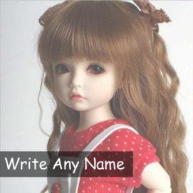 Custom Name Write Beautiful Cute Doll Profile Image Free