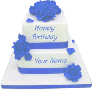 Blue Flowers Decoration Birthday Wishes Layer Cake Name Write