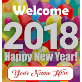 Write Name Beautiful Happy New Year 2018 Greeting Card Editable