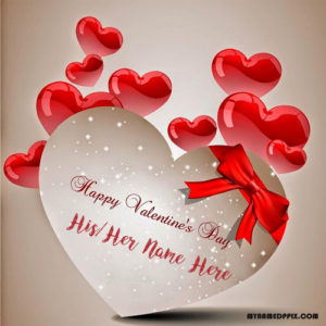 Beautiful Heart Valentine Card On Name Write Picture Sent