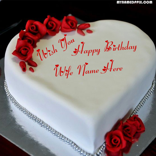 Wife Happy Birthday Name Cake Image Edit Photo Online Create