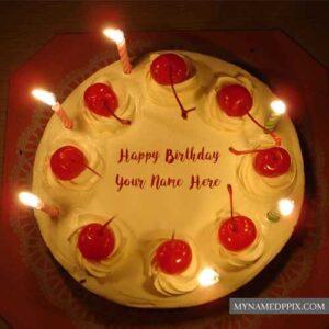 Cherry Happy Birthday Cake Name Wishes HD Pics Edit