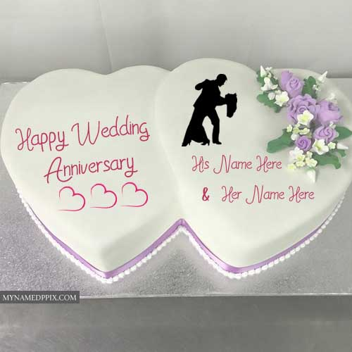 Double Heart Anniversary Cake Wishes Couple Name Photo My Name Pix Cards