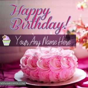 New Happy Birthday Cake Greeting Card Name Write Pictures