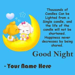 Cute Good Night Kissing Greeting Card Name Wishes Photo Send