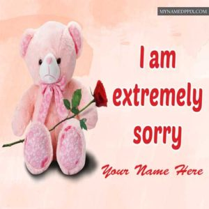 Extremely Sorry Cute Teddy Image Write Name Image Sent