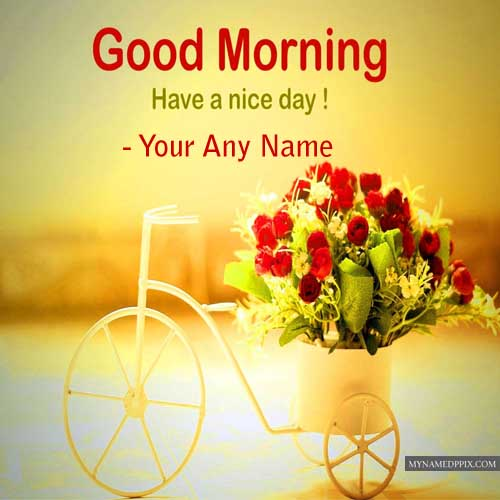Good Morning Greeting Cards Makar Photo Name Wishes Edit Online