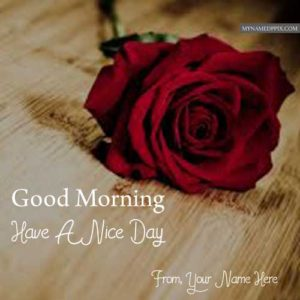Good Morning Wishes Image Red Rose Name Write Pictures Sent