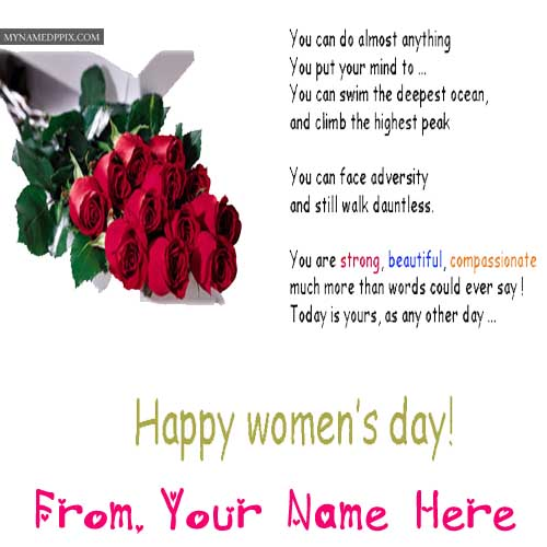 Happy Women's Day Greeting Card Name Wishes Images Download