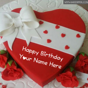 Heart Design Happy Birthday Red Cake Name Wishes Images