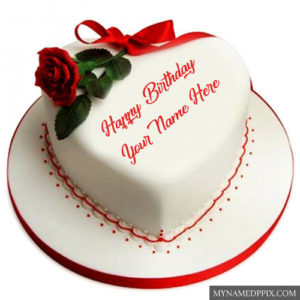 Happy Birthday Cake Name Wishes Images Heart Shaped Cakes Photos