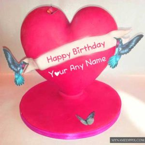 Love Birds Birthday Lovely Heart Cake Name Wishes Pictures Status
