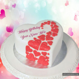 Write Name Lovely Heart Decorated Birthday Cake Image Send