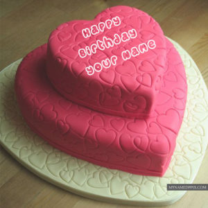 Write Name On Birthday Pink Heart Cakes Profile Pictures Editor Online