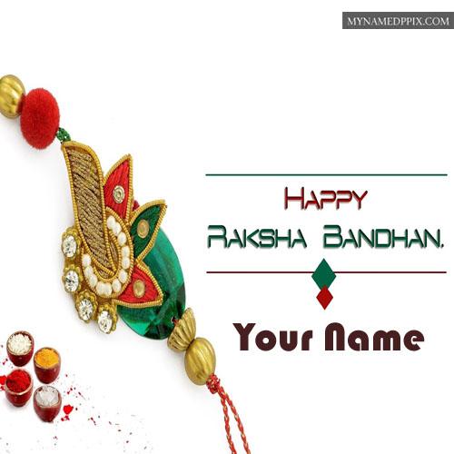 Beautiful Rakhi Send Brother Name Write Greeting Card ...