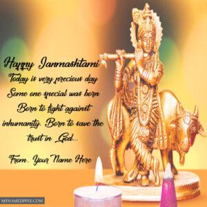 Happy Janmashtami Best Name Write Greeting Card Image Send Online