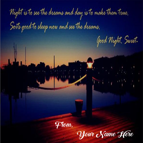 Write Name Good Night Wishes Greeting Card Pictures Online