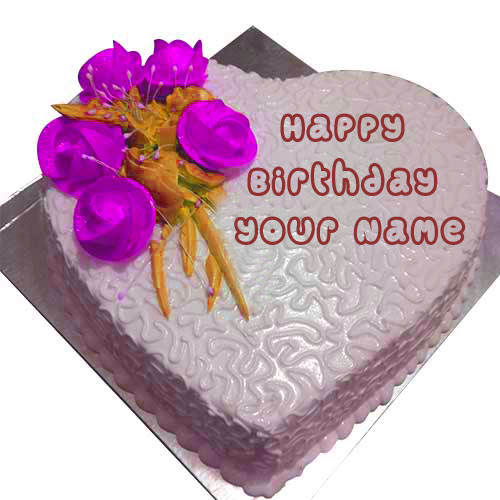 Write Name Happy Birthday Wishes Cake Images Love Heart