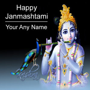 Happy Janmashtami 2018 Greeting Card Name Writing Photo