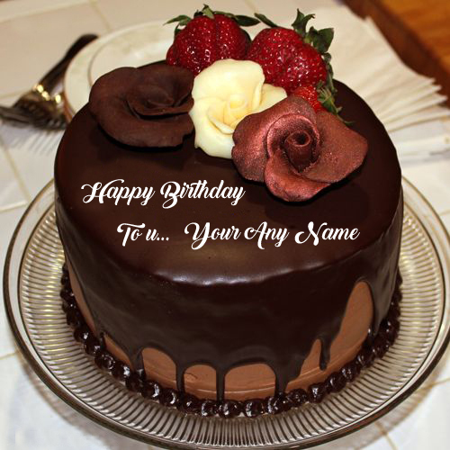 Write Name Wish U Happy Birthday Chocolate Cake Photo Edit Online